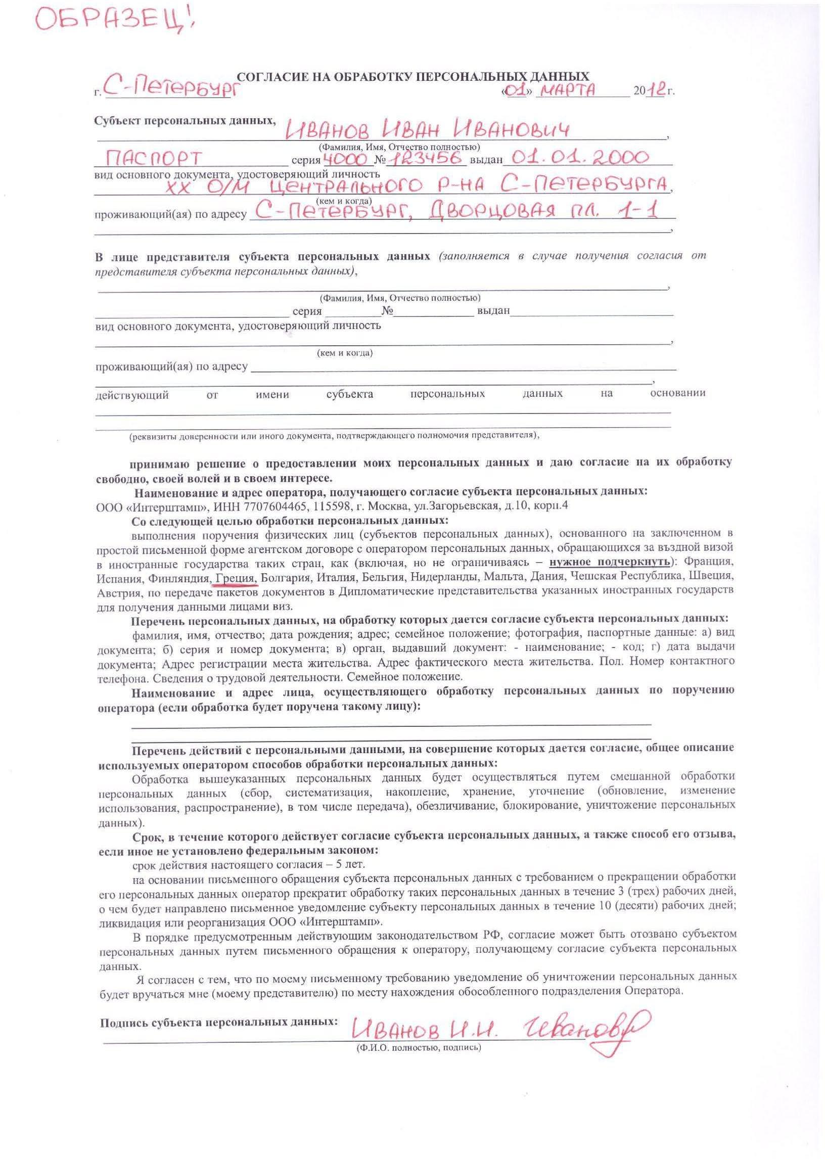 Бланк о согласии на обработку персональных данных для участника конкурса